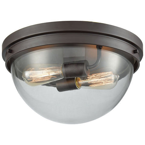 Beckett 2-Light Flush Mount in Oil Rubbed Bronze with Clear Glass