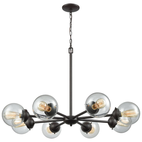 Beckett 8-Light Chandelier in Oil Rubbed Bronze with Clear Glass