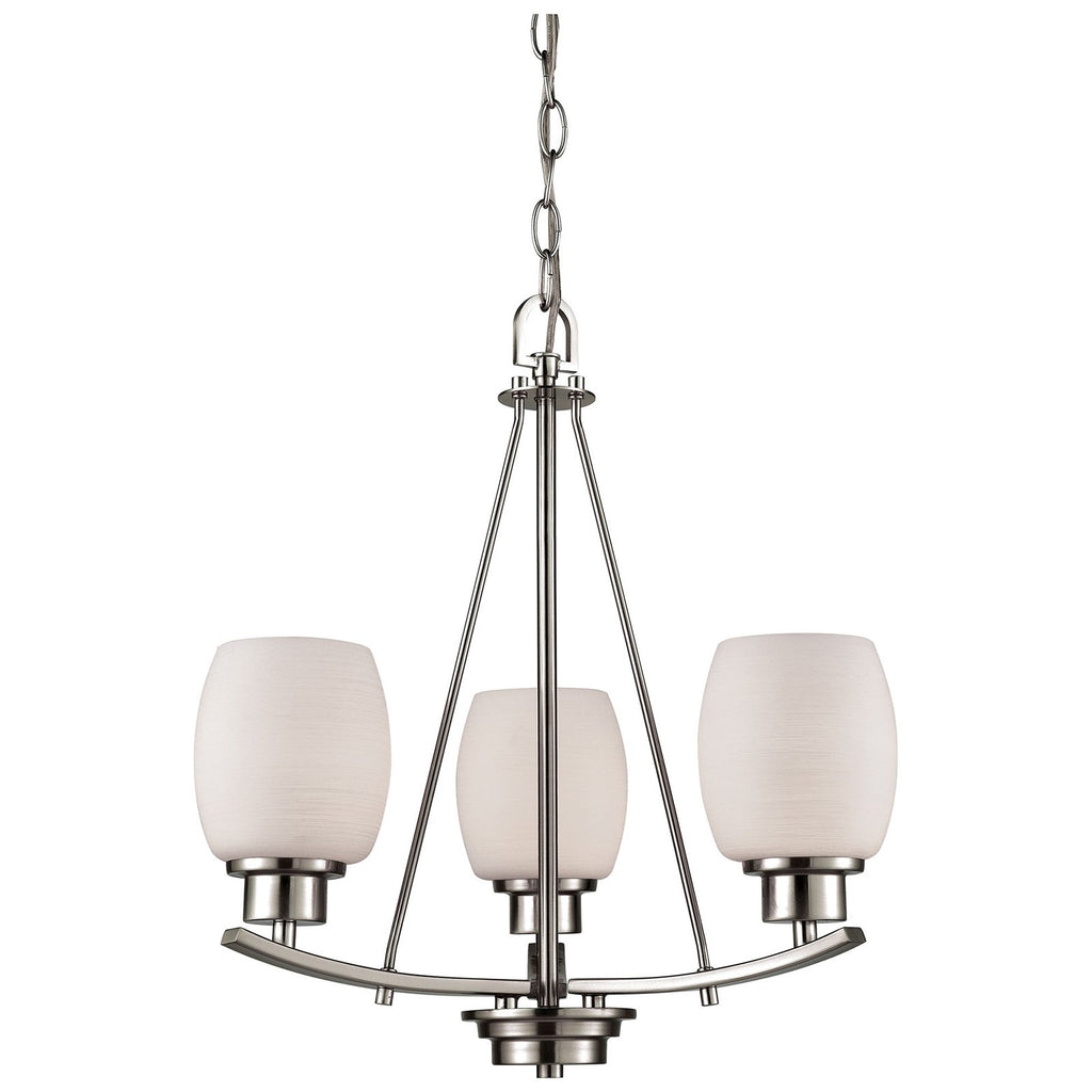 Casual Mission 3-Light Chandelier with White Lined Glass