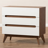 Calypso 3-Drawer Storage Chest in White and Walnut
