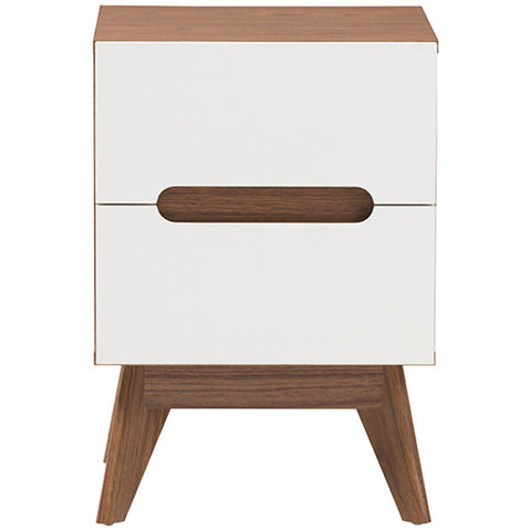 Baxton Studio Calypso White and Walnut Wood 2-Drawer Storage Nightstand