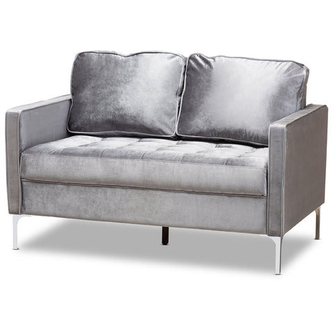 Baxton Studio Clara Grey Velvet Fabric Upholstered 2-Seater Loveseat