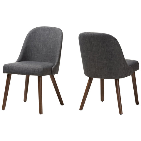 Baxton Studio Cody Fabric Upholstered Walnut Wood Dining Chair Set of 2