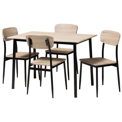 Baxton Studio Honore Light Brown Wood Matte Black Frame 5-Piece Dining Set