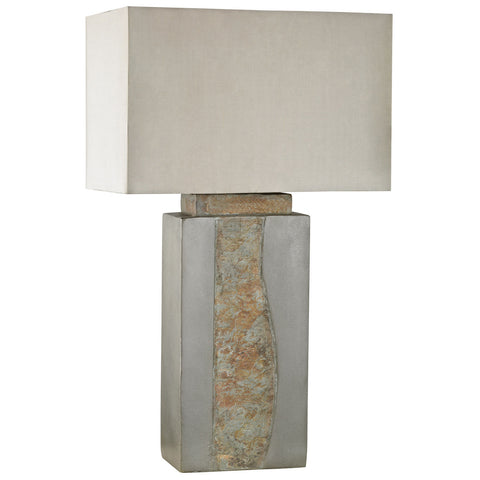 Musee Outdoor Table Lamp in Grey and Natural Slate