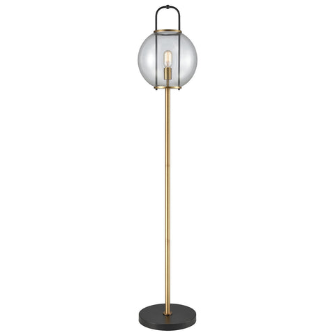 Faraday Aged Brass Floor Lamp in Black