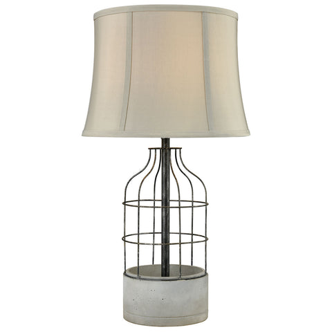 Rochefort Outdoor Table Lamp in Polished Concrete and Oil Rubbed Bronze