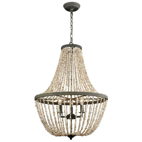 Cote Des Basques Pearl Chandelier in Pebble Grey and Natural Shell