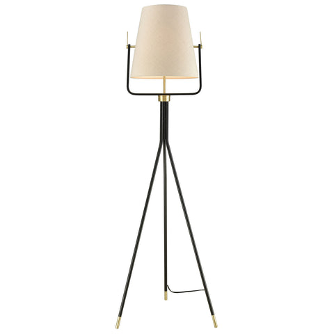 Cromwell Brass Floor Lamp in Black