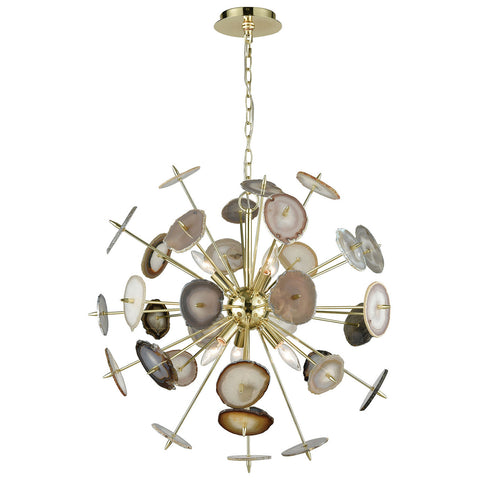 Galileo Chandelier in Bright Gold and Natural Agate