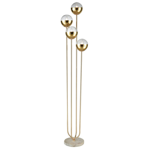 Haute Floreal Floor Lamp in Gold and White Marble