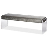 Hildon Microsuede Fabric Upholstered Lux Bench with Paneled Acrylic Legs