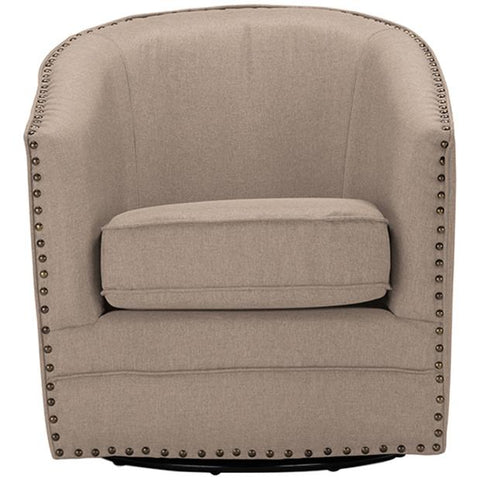 Porter Classic Retro Beige Fabric Upholstered Swivel Tub Chair