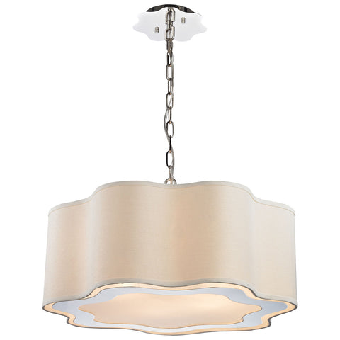 Villoy 6-Light Drum Pendant in Polished Stainless Steel and Nickel