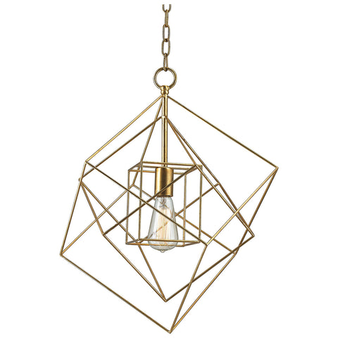 Neil 1-Light Box Pendant in Gold Leaf