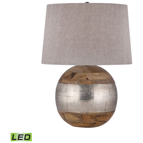 LED Table Lamp in Mango Wood and German Silver