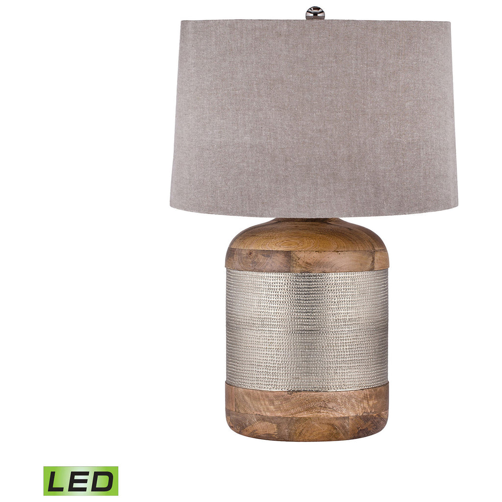 Drum LED Table Lamp in Mango Wood and German Silver