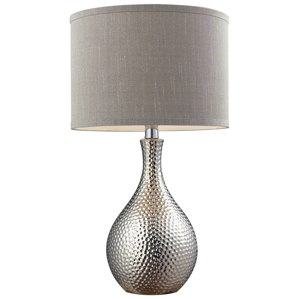 Hammered Chrome Plated LED Table Lamp with Grey Faux Silk Shade