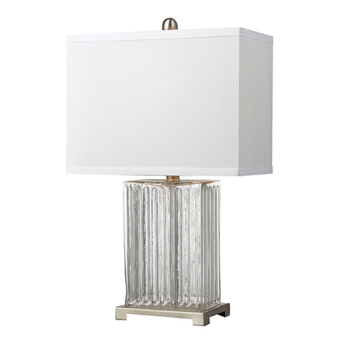 "24"" Ribbed Clear Glass Table Lamp in Brushed Steel"