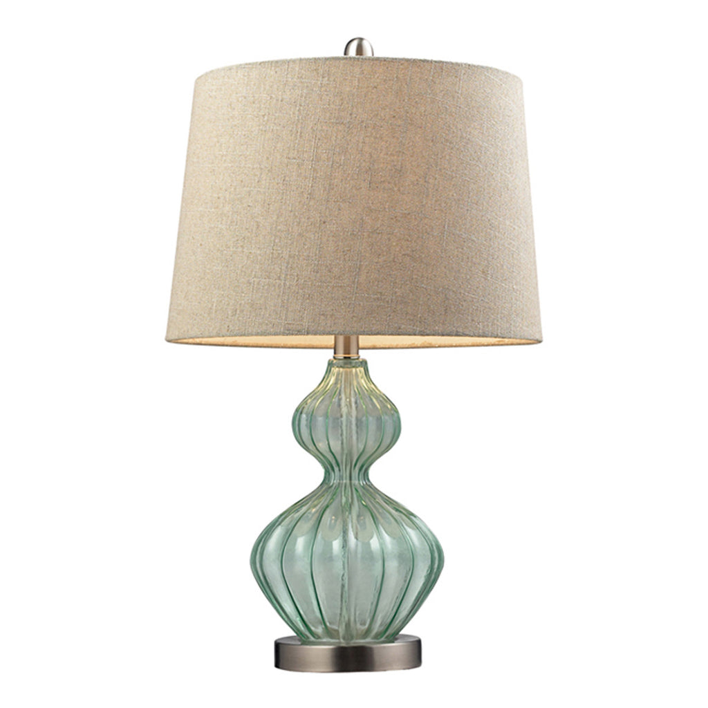 "25"" Smoked Glass Table Lamp in Pale Green"