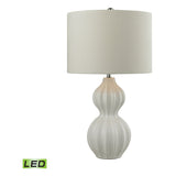 Ribbed Gourd Table Lamp, Gloss White