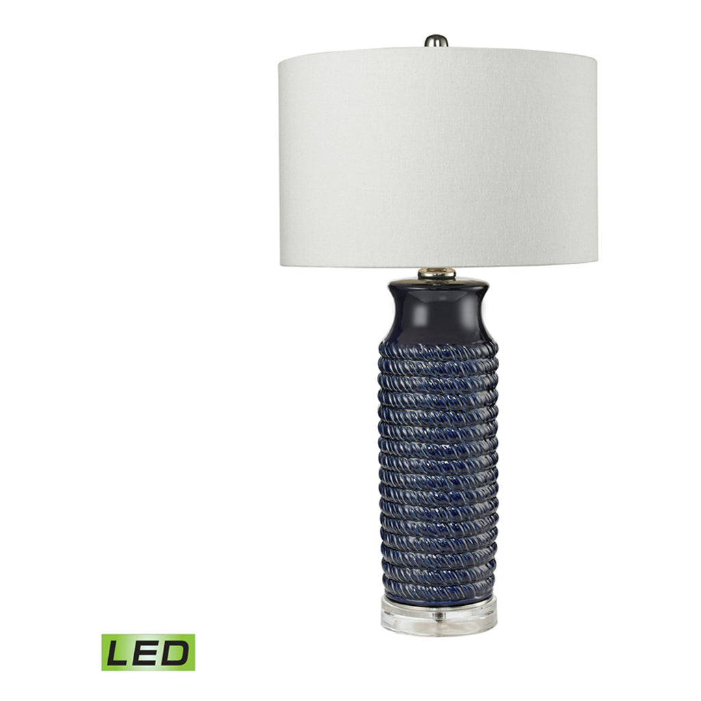 Blue ceramic table lamp - Wrapped Rope Ceramic Table Lamp Navy Blue