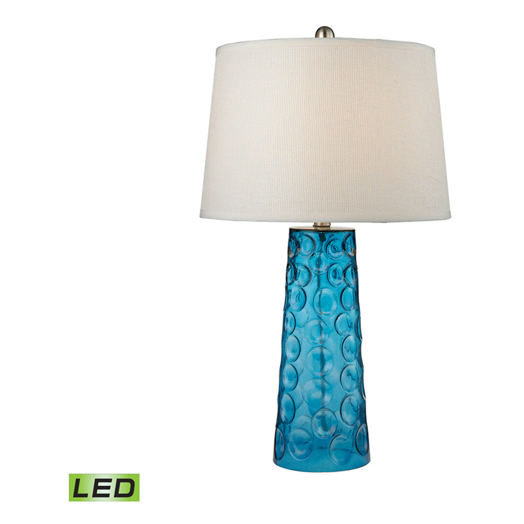 Hammered Glass LED Table Lamp, Blue