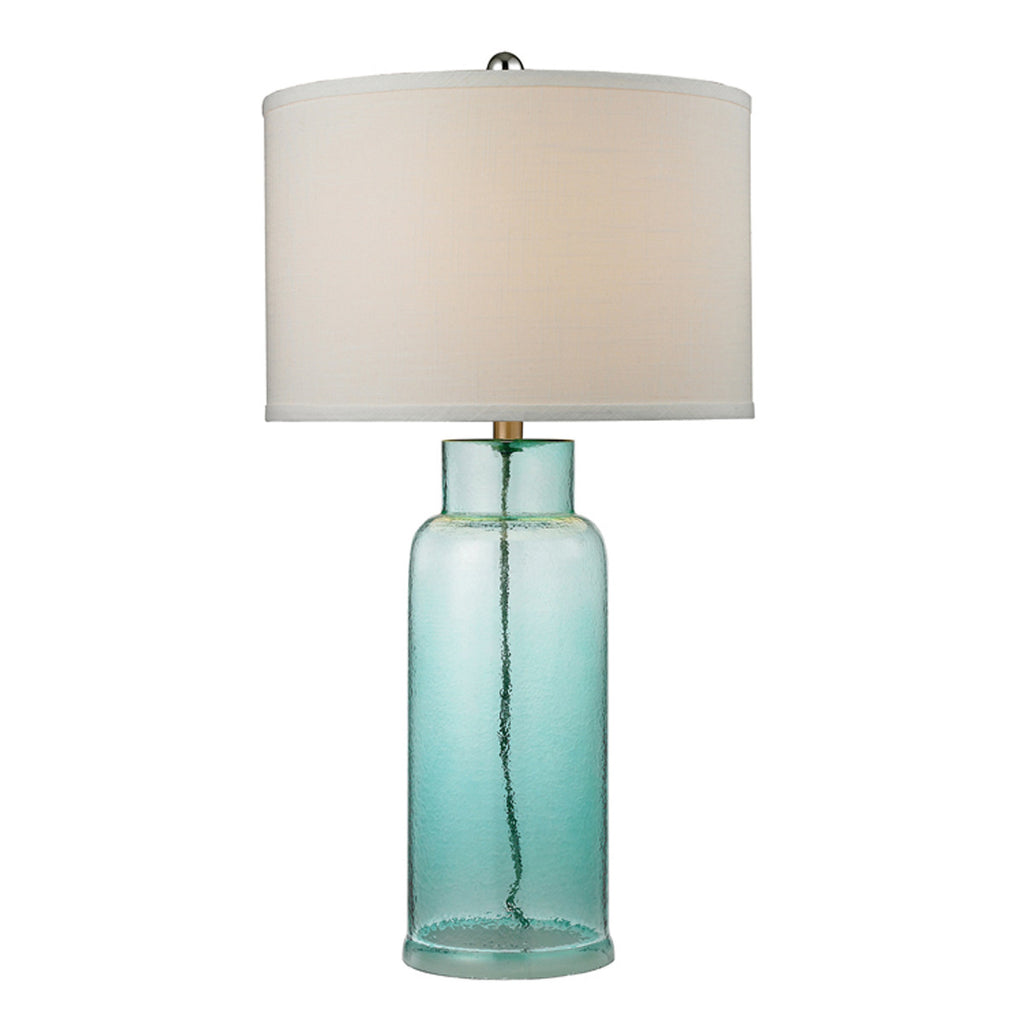 Glass Bottle Table Lamp, Seafoam Green
