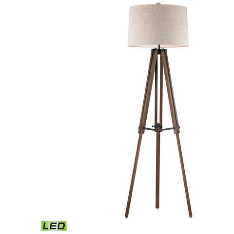 Wooden Brace LED Tripod Floor Lamp in Walnut and Oil Rubbed Bronze