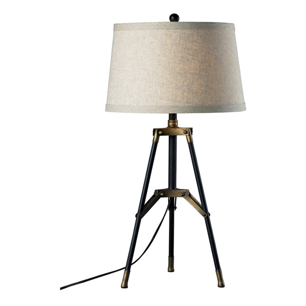 "30"" Functional Tripod Table Lamp in Restoration Black and Aged Gold"