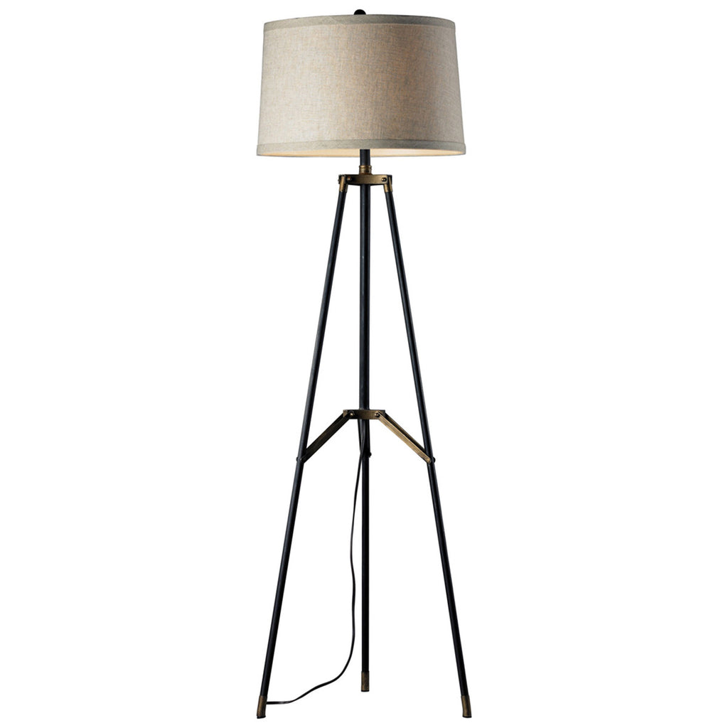 Functional Tripod LED Floor Lamp in Restoration Black and Aged Gold