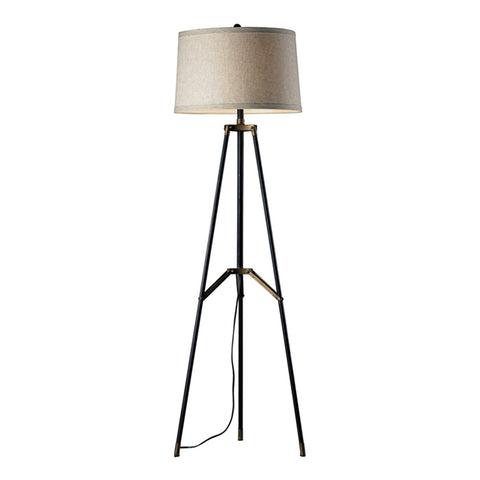 "54"" Functional Tripod Floor Lamp in Restoration Black and Aged Gold"