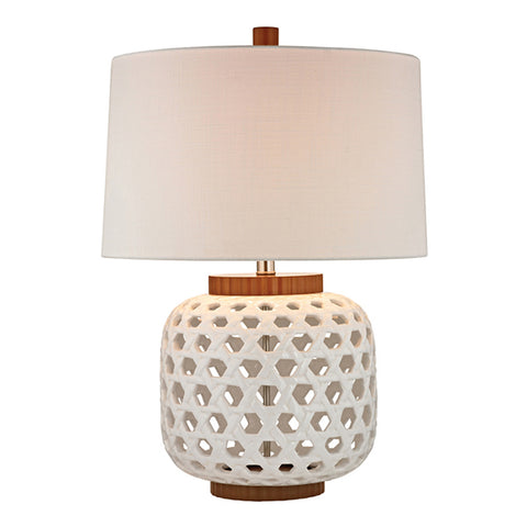 "26"" Woven Ceramic Table Lamp in White"