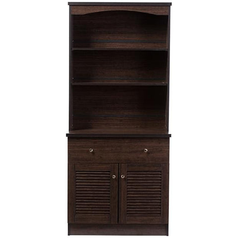 Agni Dark Brown Buffet and Hutch Kitchen Cabinet