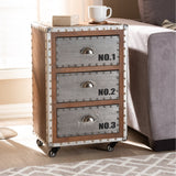 Baxton Studio Avere Brown Wood and Silver Metal 3-Drawer Rolling Nightstand
