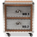 Baxton Studio Avere Brown Wood and Silver Metal 2-Drawer Rolling Nightstand