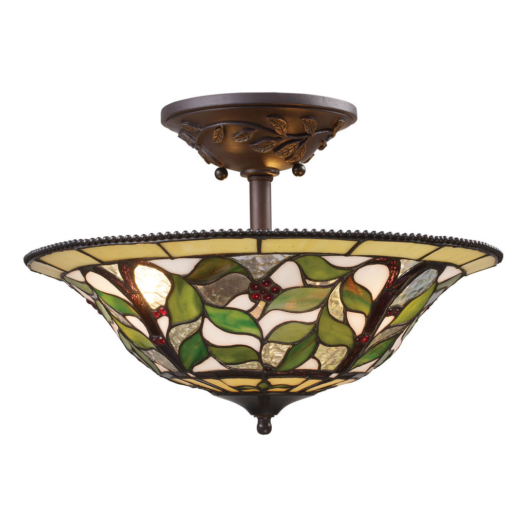 Latham 3-Light Semi-Flush in Tiffany Bronze with Highlight