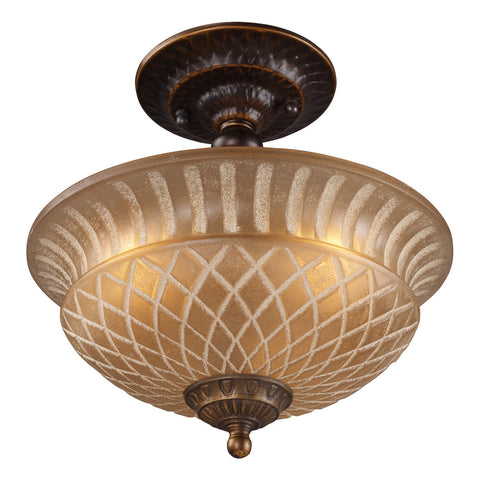 AGB Restoration 3-Light Golden Bronze Semi-Flush