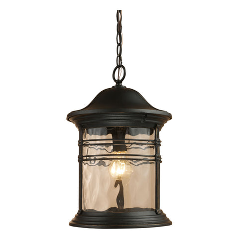 Madison 1-Light Outdoor Pendant in Matte Black