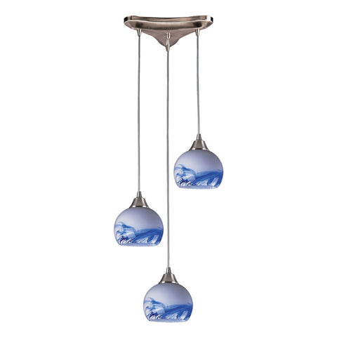 Mela 3-Light Satin Nickel Pendant
