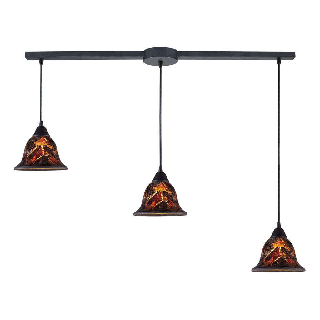 Firestorm Linear 3-Light Pendant in Dark Rust