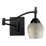 Celina 1-Light Dark Rust and Glass Swingarm Sconce
