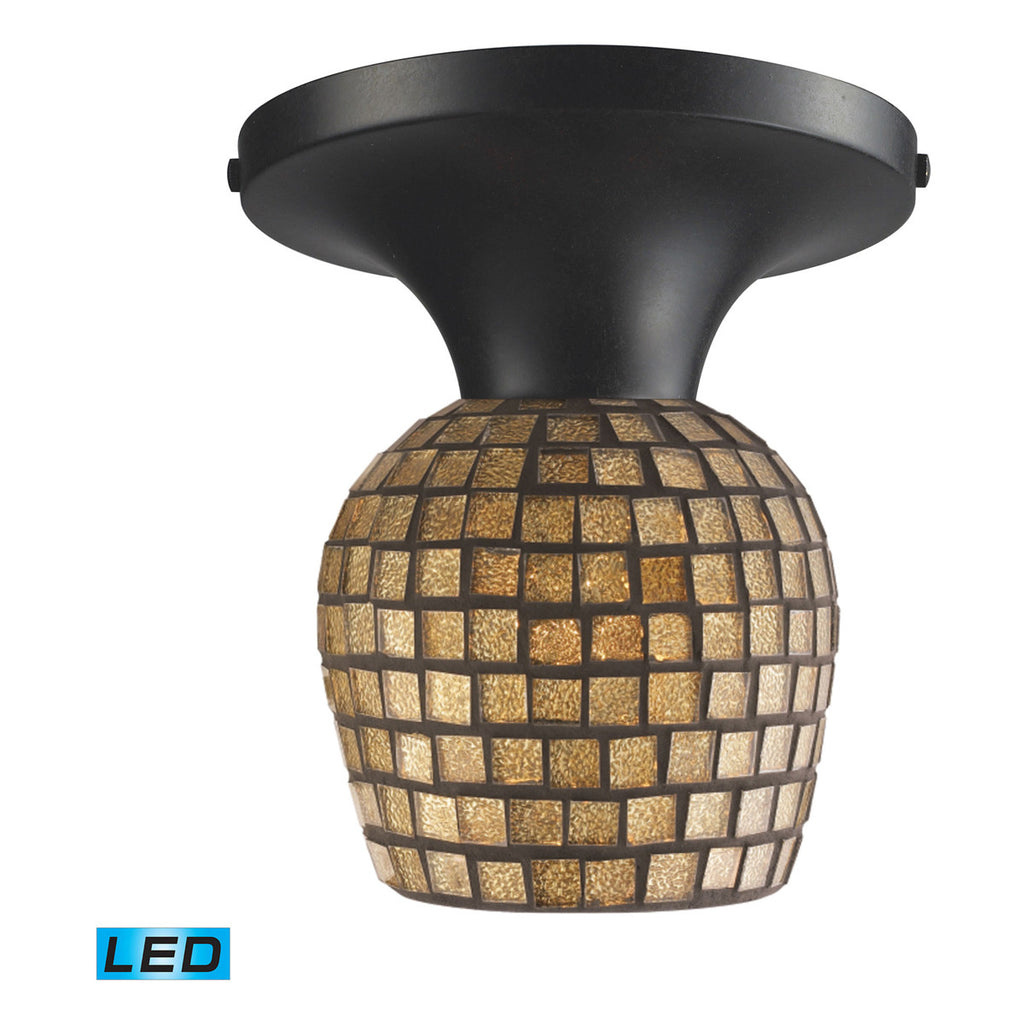 Celina 1-Light Dark Rust and Glass Semi-Flush