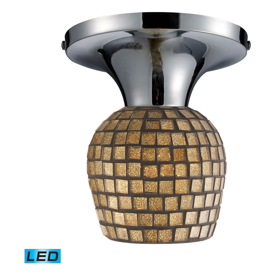Celina 1-Light Polished Chrome and Glass Semi-Flush
