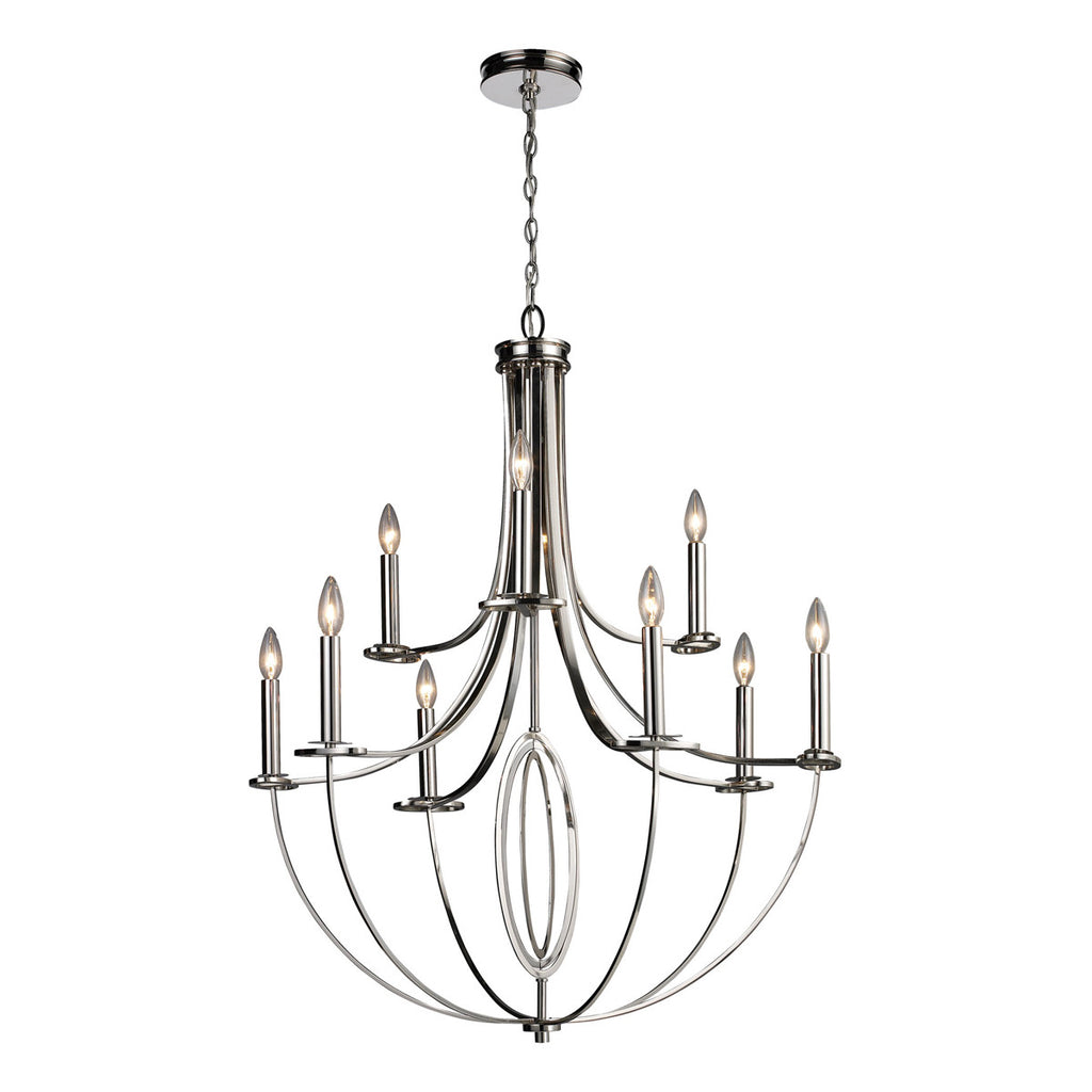 Dione 9-Light Chandelier in Polished Nickel