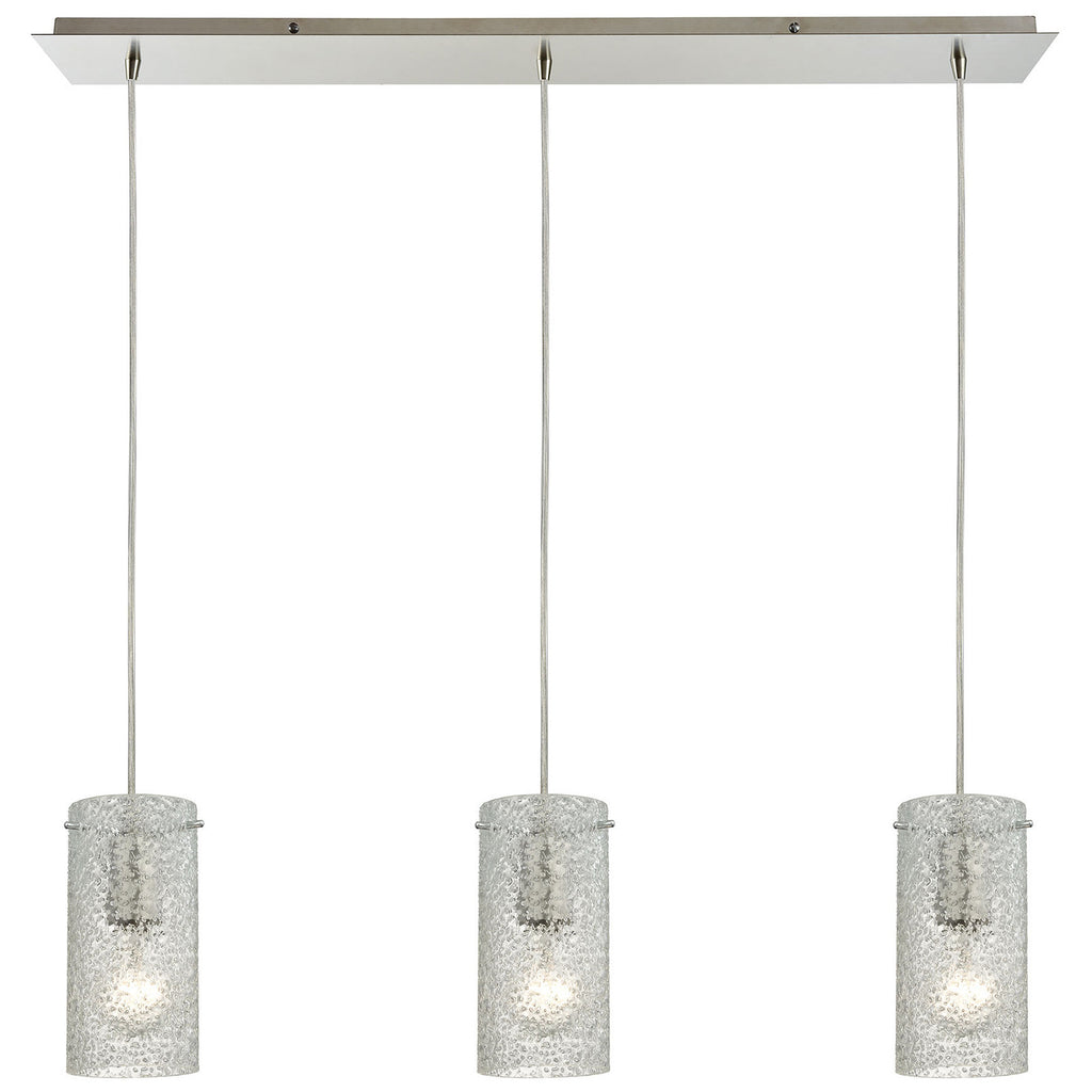Ice Fragments 3-Light Linear Pendant in Satin Nickel