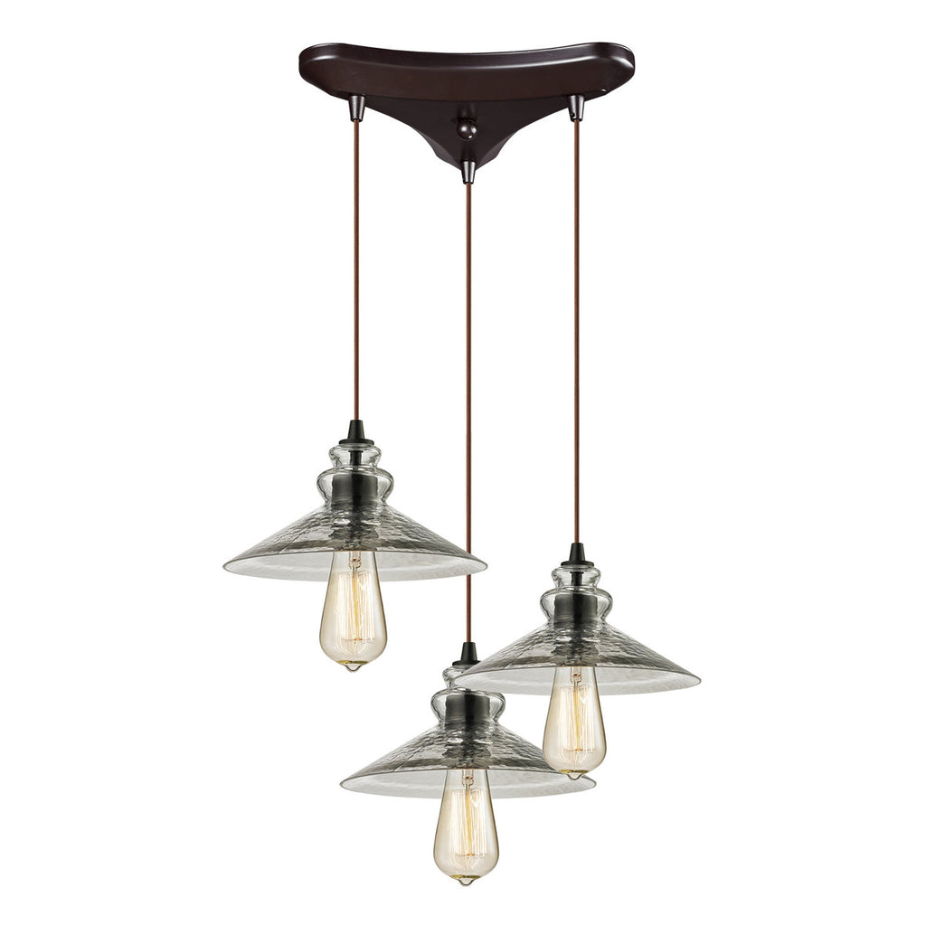 Hammered Glass 3-Light Chandelier in Oil Rubbed Bronze