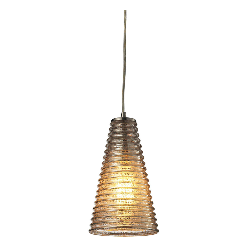 Ribbed Glass 1-Light Mini Pendant in Satin Nickel