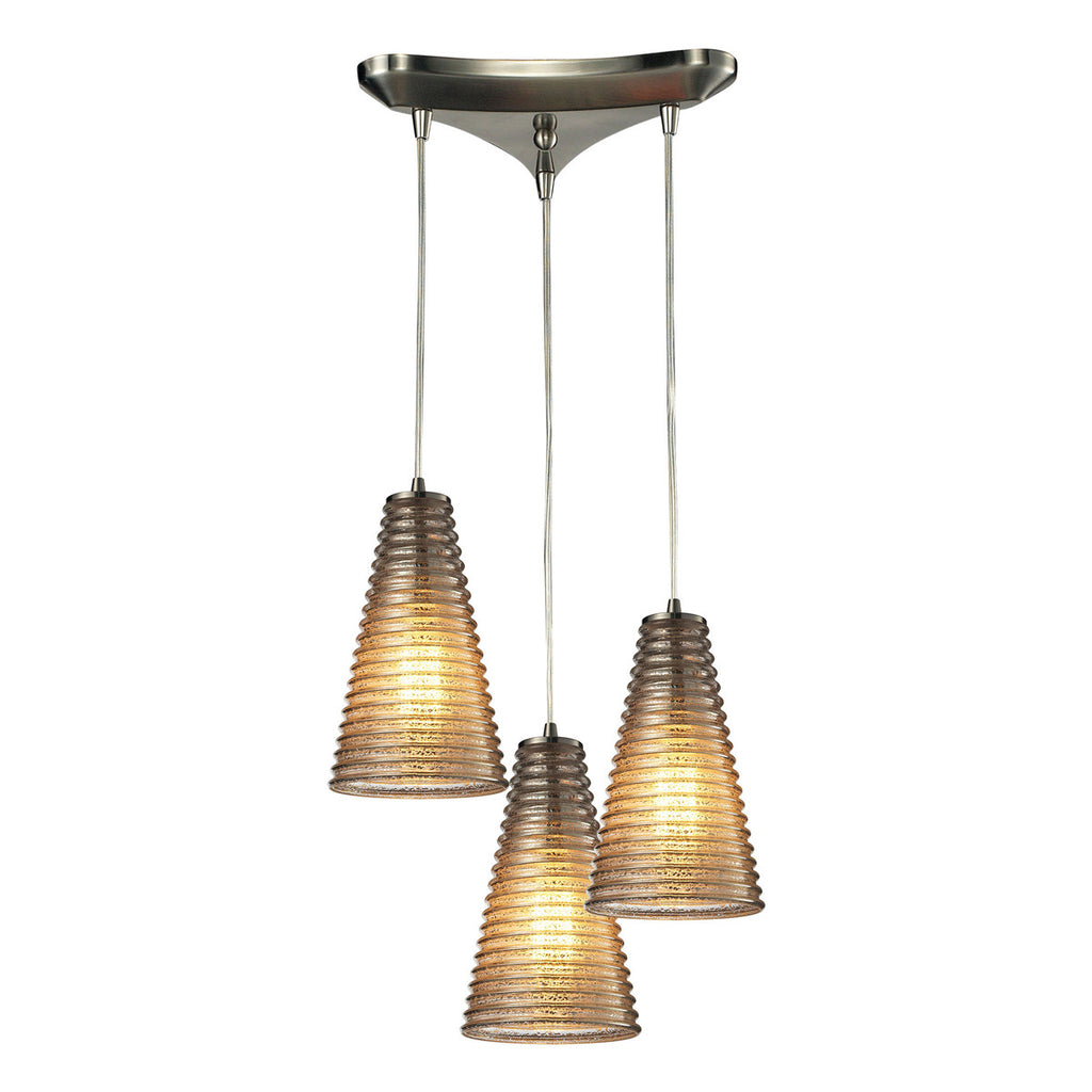 Ribbed Glass 3-Light Chandelier in Satin Nickel