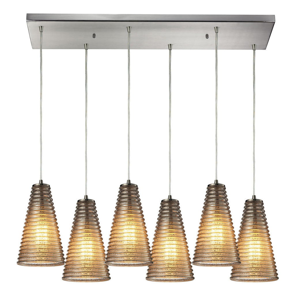 Ribbed Glass 6-Light Chandelier in Satin Nickel